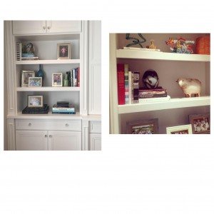 Books are an important part of shelf decorating. They aad texture, height and allow frames to shine