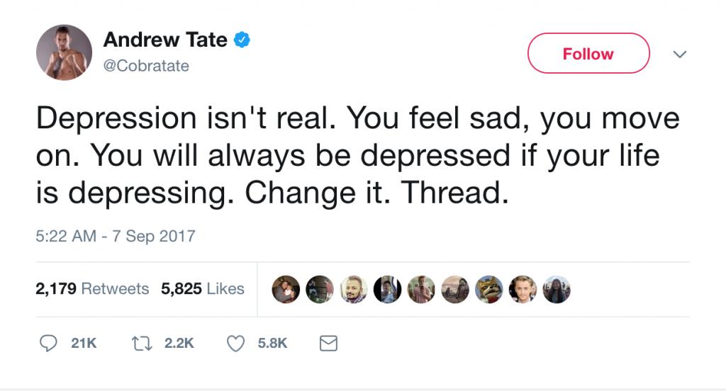 Andrew Tate depression tweet